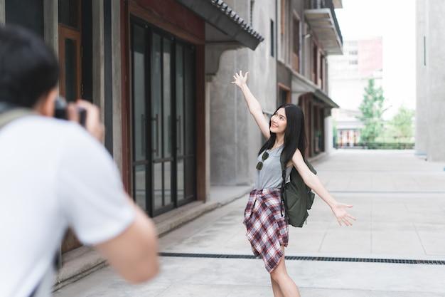 Podróżnik pary azjatycka podróż w pekin, chiny Darmowe Zdjęcia