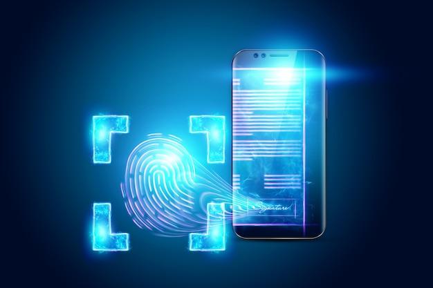 Pojęcie Podpisu Elektronicznego, Wizerunek Telefonu I Hologram Umowy Oraz Odcisk Palca. Zdalna Współpraca, Biznes Online. Różne środki Przekazu. Ilustracja 3d, Renderowanie 3d. Premium Zdjęcia
