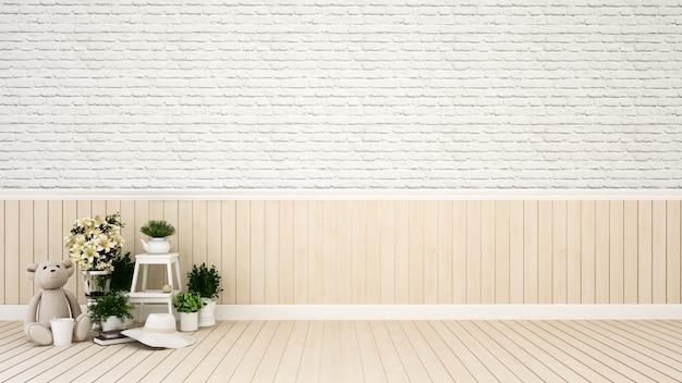 Pokój dziecięcy lub salon w domu lub przedszkolu - renderowanie 3d Premium Zdjęcia