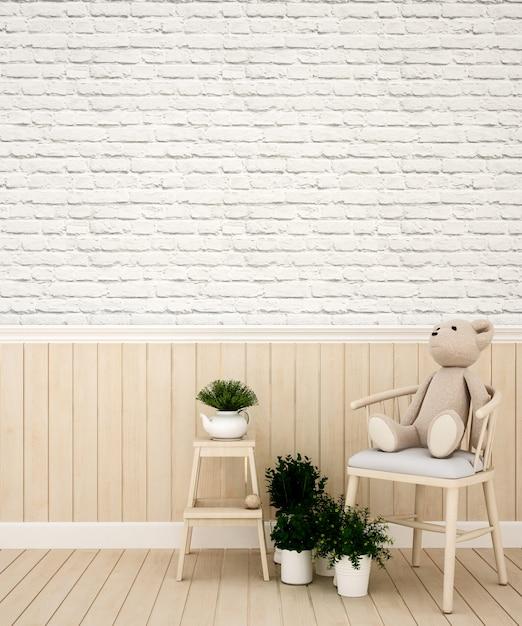 Pokój dziecięcy lub salon w przedszkolu lub mieszkaniu - rendering 3d Premium Zdjęcia