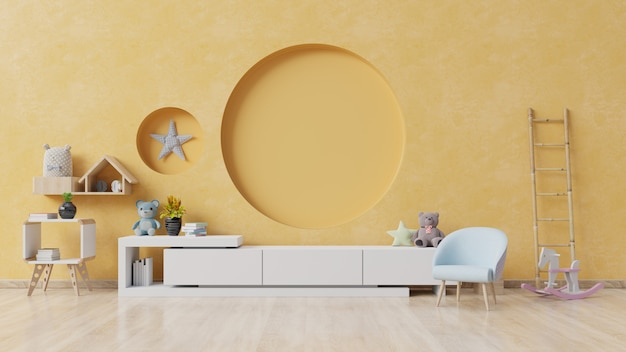 Pokój Dziecięcy Z Fotelem Sztalugowym I Szafką. Premium Zdjęcia