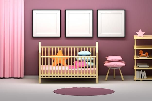 Pokój dziecięcy z ramkami prezentacyjnymi i wieloma przedmiotami Premium Zdjęcia