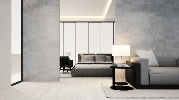 Pokój Dzienny I Sypialnia W Apartamencie Lub Hotelu - Projektowanie Wnętrz Premium Zdjęcia