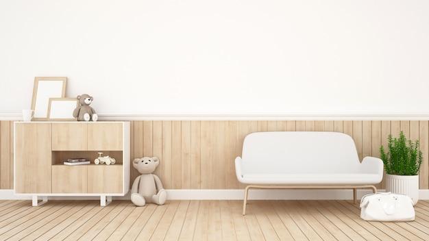 Pokój dzienny lub pokój dziecięcy - renderowanie 3d Premium Zdjęcia