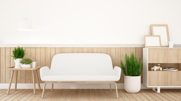 Pokój dzienny w mieszkaniu lub domu - architektura wnętrz - renderowanie 3d Premium Zdjęcia