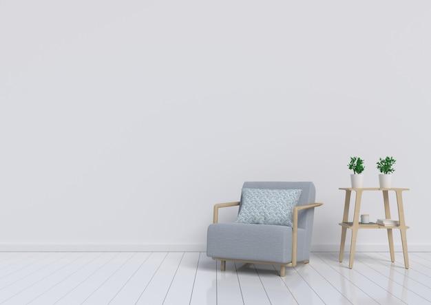 Pokój dzienny z szarym fotelem i roślin na tle białej ściany. renderowania 3d. Premium Zdjęcia