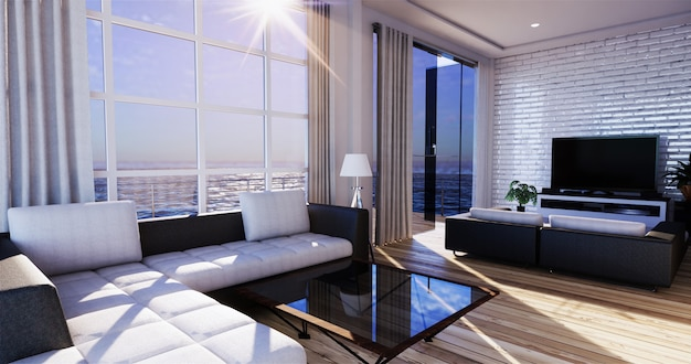 Pokój dzienny z widokiem na morze w nowoczesnym domu letnim plaży. renderowanie 3d Premium Zdjęcia