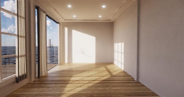 Pokój dzienny z widokiem na morze z pustym pokojem. renderowanie 3d Premium Zdjęcia