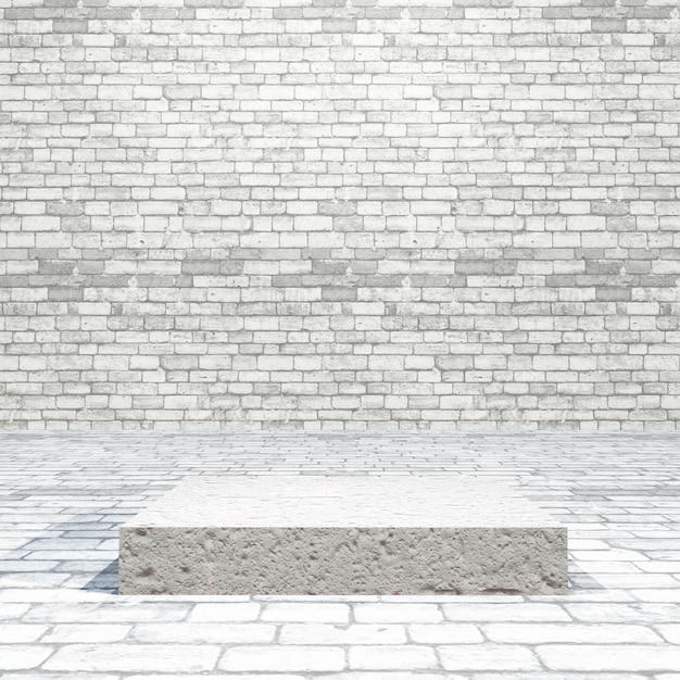 Pokój z cegły 3d z pustym podium Darmowe Zdjęcia