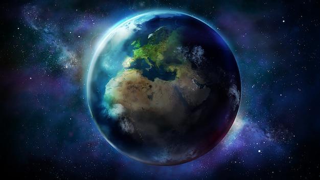 Pół Dnia Ziemi Z Kosmosu Pokazuje Afrykę, Europę I Azję Premium Zdjęcia