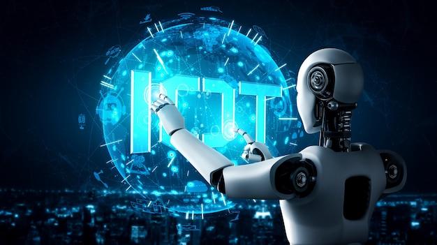 Połączenie Internetowe Kontrolowane Przez Robota Ai I Proces Uczenia Maszynowego W Celu Analizy łączności Danych I Bezpieczeństwa Cybernetycznego. Ilustracja 3d. Premium Zdjęcia