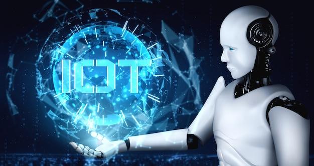 Połączenie Internetowe Kontrolowane Przez Robota Ai I Proces Uczenia Maszynowego Premium Zdjęcia