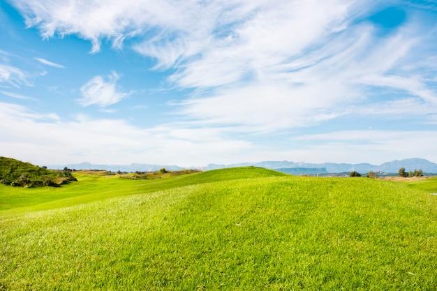 Pole golfowe w belek. zielona trawa na polu. błękitne niebo, słoneczne Premium Zdjęcia