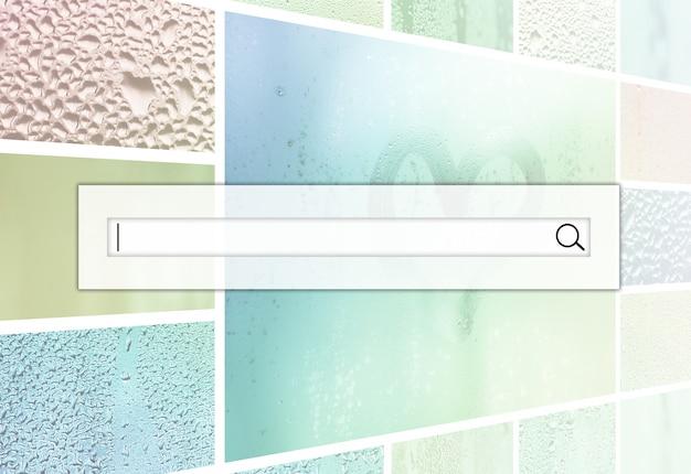 Pole wyszukiwania znajduje się na szczycie kolażu wielu różnych fragmentów szkła, ozdobionych kroplami deszczu z kondensatu i pomalowanego serca w centrum Premium Zdjęcia