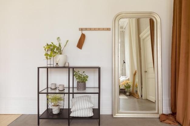 Półki Z Roślinami Doniczkowymi Przy Lustrze Premium Zdjęcia