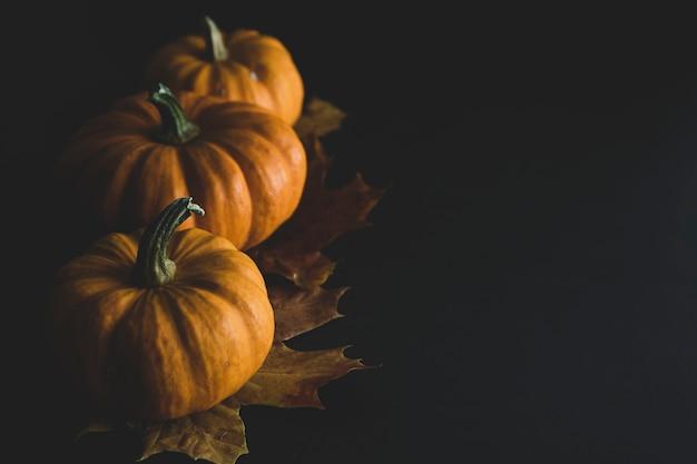Pomarańczowe Małe Dynie Na Ciemnym Drewnie Premium Zdjęcia
