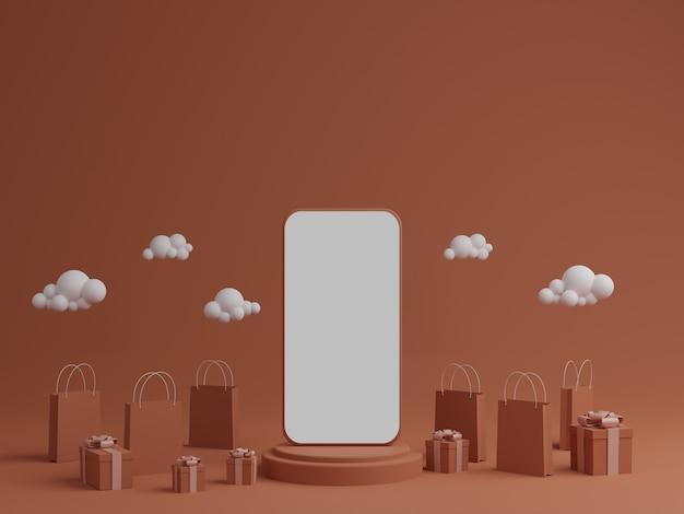 Pomarańczowe Tło Z Pustym Białym Ekranem Mobilnej Makieta, Pudełko I Torbę Na Zakupy Premium Zdjęcia