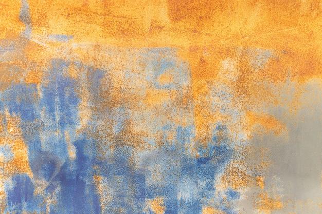 Pomarańczowy Metal Zardzewiały Tło I Niebieski Metal Grunge Tekstury Premium Zdjęcia