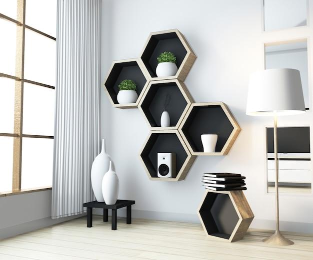 Pomysł na sześciokątny drewniany regał na ścianie w salonie w nowoczesnym stylu zen Premium Zdjęcia