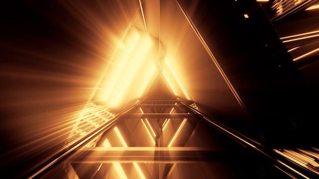 Portal Pięknych Neonów Ze świecącymi Pomarańczowymi Liniami W Tunelu Darmowe Zdjęcia