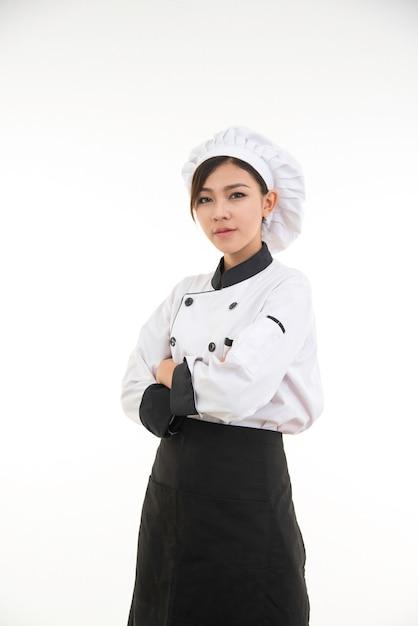 Portret azjatykcia młoda brunetka szefa kuchni kobieta Premium Zdjęcia