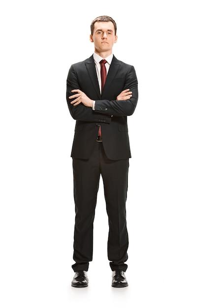 Portret Całego Ciała Biznesmena Na Białym Tle Darmowe Zdjęcia