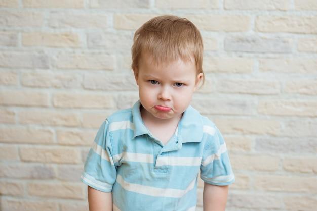 Portret Chłopca Obrażonego Dziecko Na Tle Cegły Premium Zdjęcia