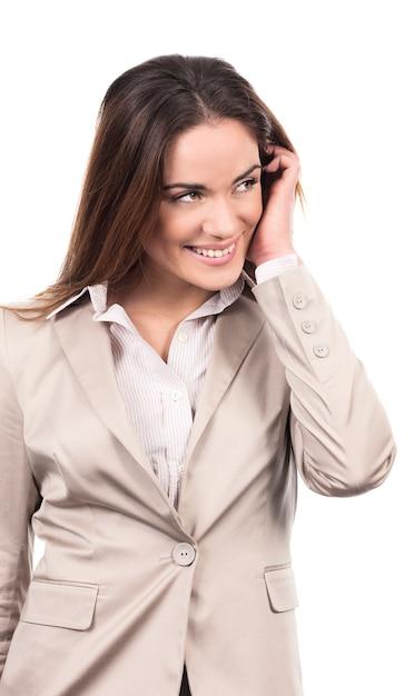 Portret Kobiety Biznesu Model Ręką We Włosach Na Białym Tle Darmowe Zdjęcia
