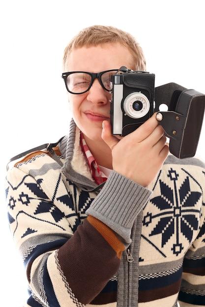 Portret Mężczyzny Fotografa Z Aparatem Retro Darmowe Zdjęcia
