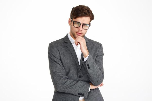 Portret Młody Poważny Biznesowy Mężczyzna W Eyeglasses Darmowe Zdjęcia