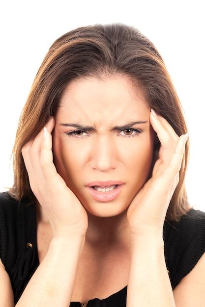 Portret Pięknej Kobiety Z Bólem Głowy Darmowe Zdjęcia