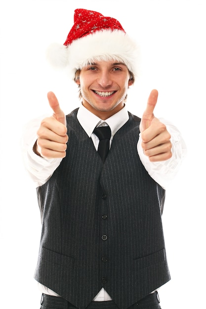 Portret Szczęśliwy Młody Człowiek Z Santa Hat Darmowe Zdjęcia