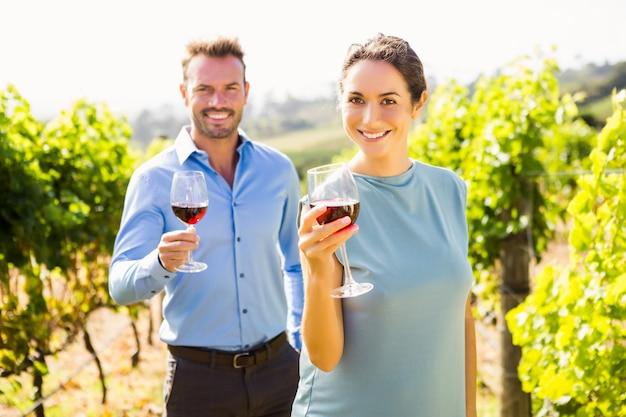 Portret uśmiechnięci pary mienia wineglasses przy winnicą Premium Zdjęcia