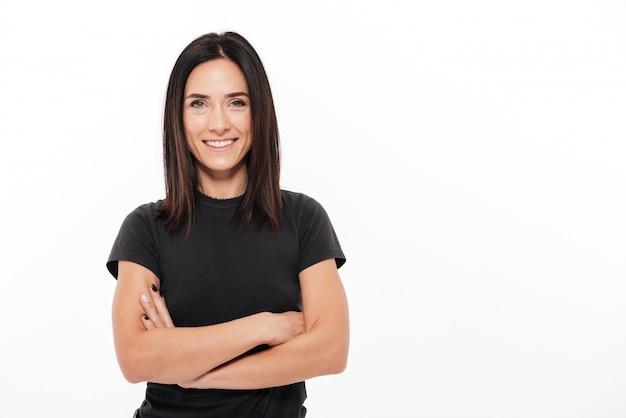 Portret Uśmiechnięta Przypadkowa Kobieta Darmowe Zdjęcia