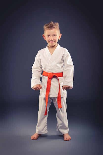 Portret Uśmiechniętego Dziecka Z Kimono Uprawiania Sztuk Walki Premium Zdjęcia
