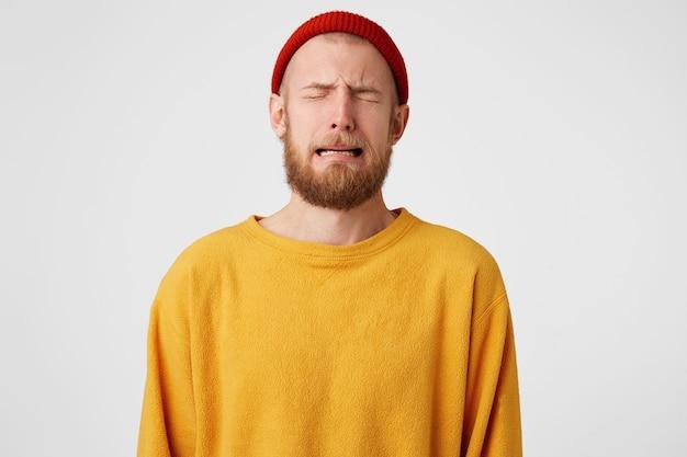 Portret Zdenerwowany Płaczący Płacz Zdenerwowany Facet Darmowe Zdjęcia