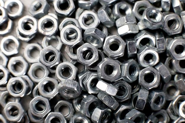 Powierzchnia Metalowych Nakrętek, Elementy Mocujące, Premium Zdjęcia