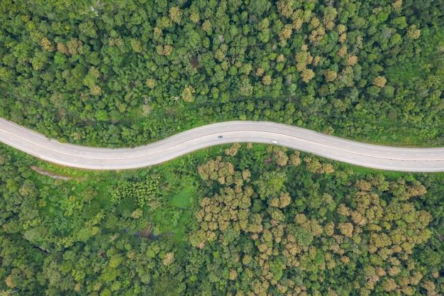 Powietrzny Odgórny Widok Drogi Przemian Droga W Lesie, Widok Od Trutnia Premium Zdjęcia