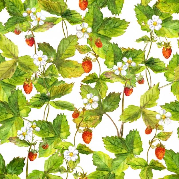 Powtarzający się wzór z polem dzikiej leśnej truskawki Premium Zdjęcia