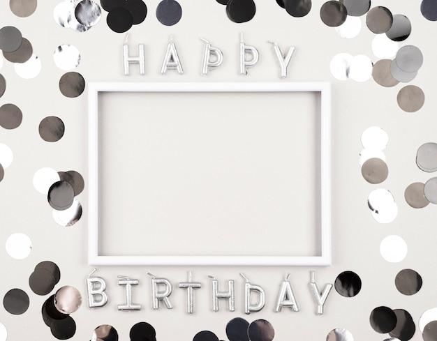 Powyżej Widok Urodzinowych Dekoracji Z Ramką Darmowe Zdjęcia