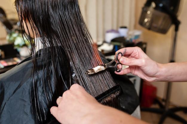 Pożar Włosów W Salonie Piękności Premium Zdjęcia