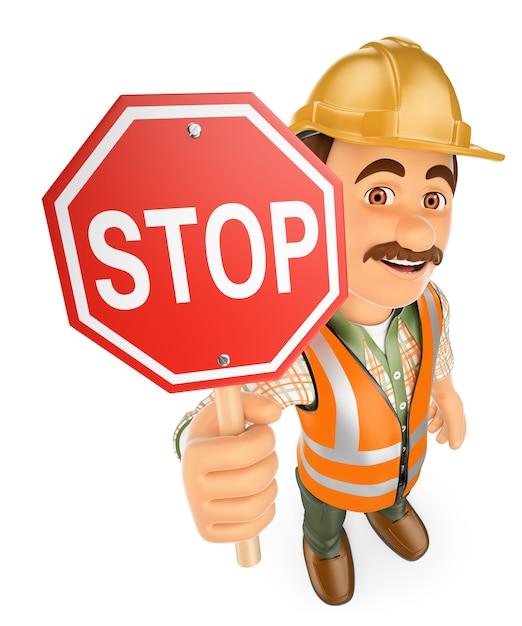 Pracownik Budowlany 3d Z Sygnałem Stop Premium Zdjęcia