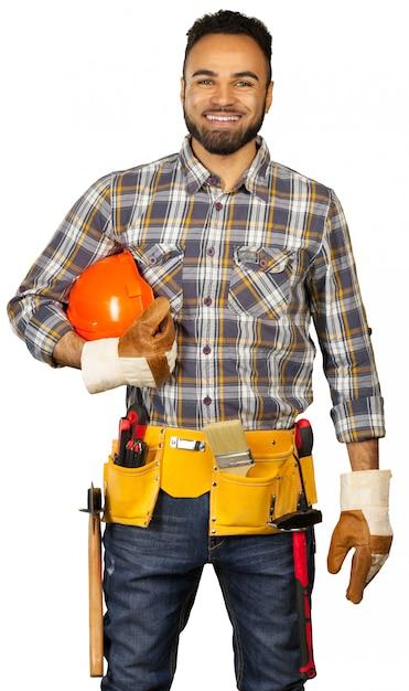 Pracownik budowlany odizolowywający na bielu Premium Zdjęcia
