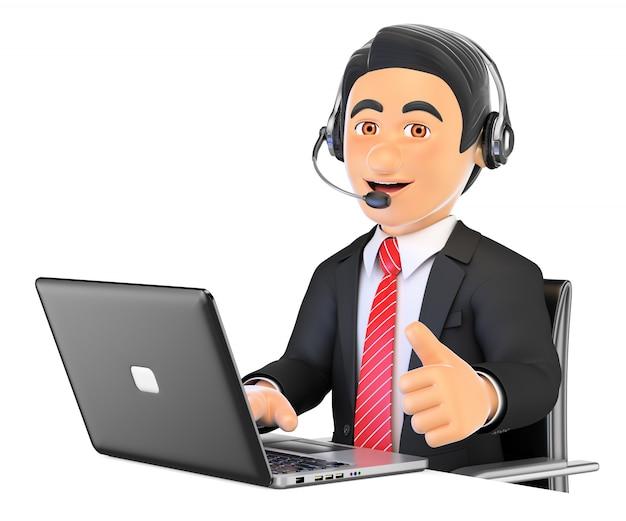 Pracownik Call Center 3d Pracuje Z Kciukiem Do Góry Premium Zdjęcia