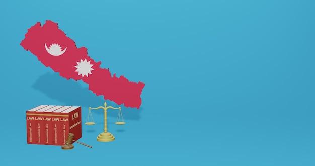 Prawo Nepalu Dotyczące Infografik, Treści W Mediach Społecznościowych W Renderowaniu 3d Premium Zdjęcia