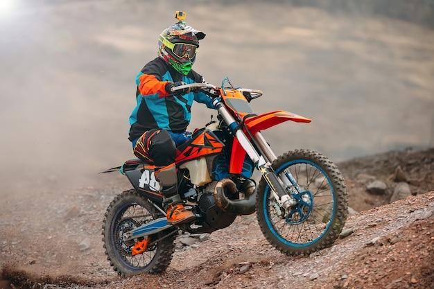 Prędkość I Moc Wyścigu Motocykli Motocross W Sporcie Ekstremalnym Człowieka, Koncepcja Działania Sportowego Premium Zdjęcia