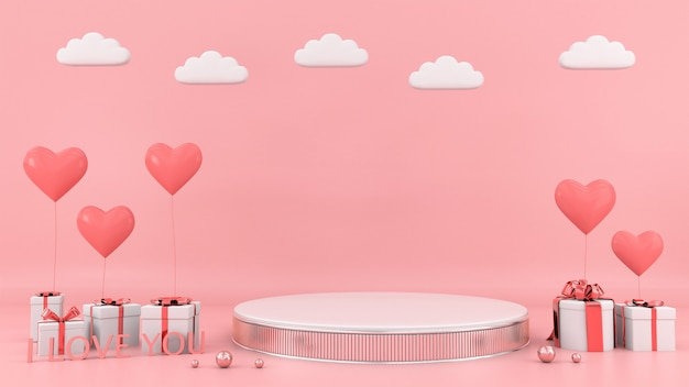 Prezenta Pudełka Tła Kierowy Unosi Się Karciany Miłości Miłości Valentine Pojęcia 3d Rendering Premium Zdjęcia