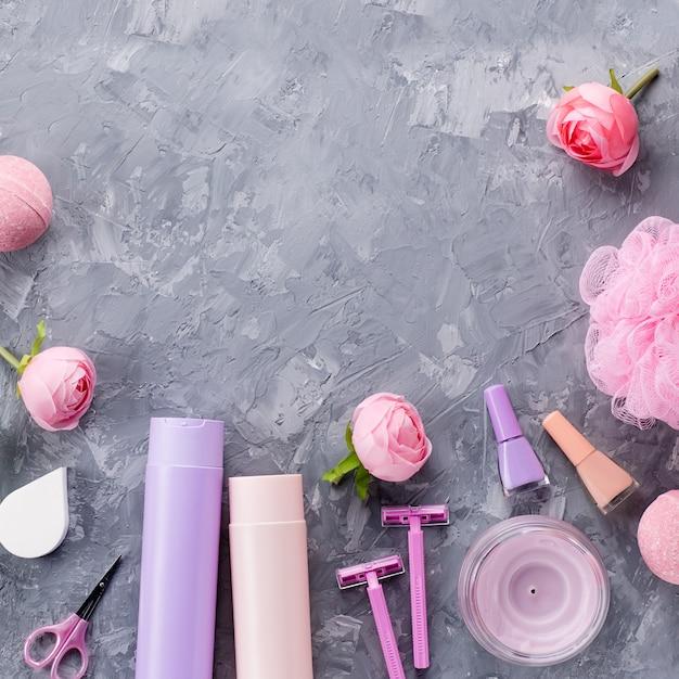 Produkty Do Higieny Osobistej, Bielizna I Kosmetyki. Kobiety Traktowania Traktowania Pojęcie, Odgórny Widok Premium Zdjęcia