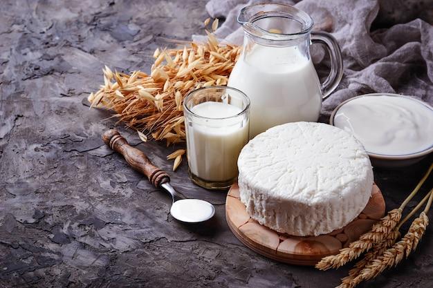 Produkty Mleczne Mleko, Twaróg, śmietana I Pszenica. Selektywne Skupienie Premium Zdjęcia