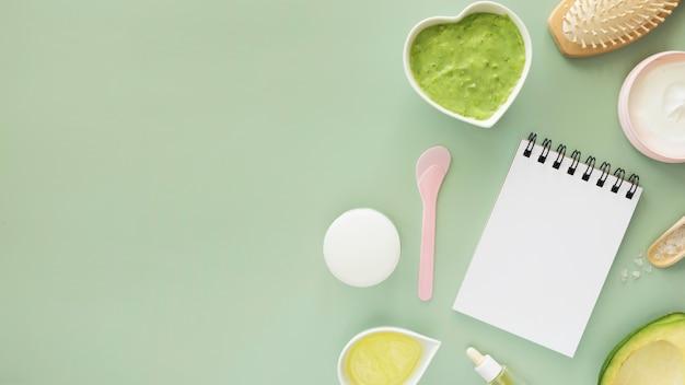 Produkty Naturalne I Koncepcja Spa Notatnik Przestrzeni Kopii Premium Zdjęcia